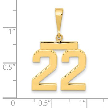 14k Medium Polished Number 22 Charm