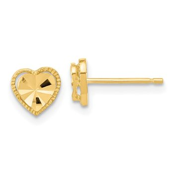 14k Polished Diamond-cut Heart Post Earrings