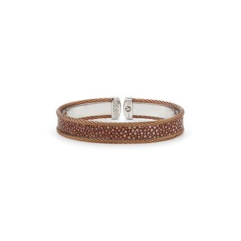 Bronze Cable & Brown Stingray Cuff