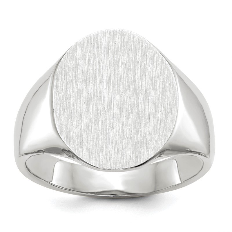 Quality Gold 14k White Gold 18.5x15.0mm Closed Back Men's Signet Ring