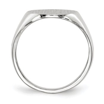 14k White Gold 18.5x15.0mm Closed Back Men's Signet Ring