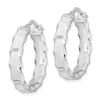 Sterling Silver RH-plated Scalloped Edge 5mm Hoop Earrings