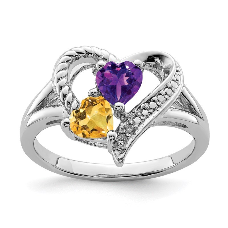 Quality Gold Sterling Silver Rhodium Amethyst & Citrine Diam. Ring
