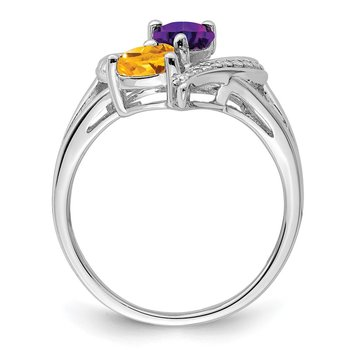 Sterling Silver Rhodium Amethyst & Citrine Diam. Ring