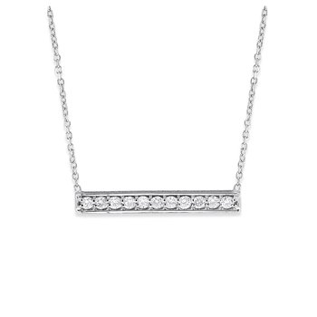 Diamond Bar Necklace in 14K White Gold with 11 Diamonds Weighing .22 ct tw