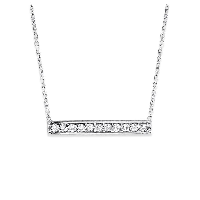 KC Designs Diamond Bar Necklace in 14K White Gold with 11 Diamonds Weighing .22 ct tw