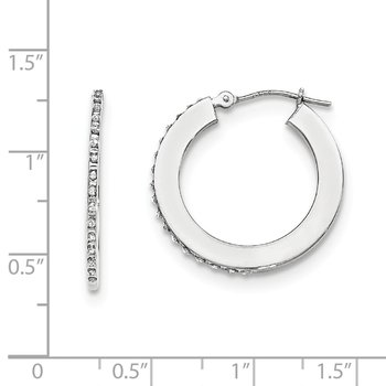 14k White Gold Diamond Fascination Round Hoop Earrings