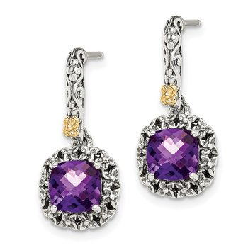 Sterling Silver w/ 14k Polished Amethyst Earrings