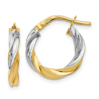 Leslie's 14K w/ White Rhodium Plating Polished Hoop Earrings