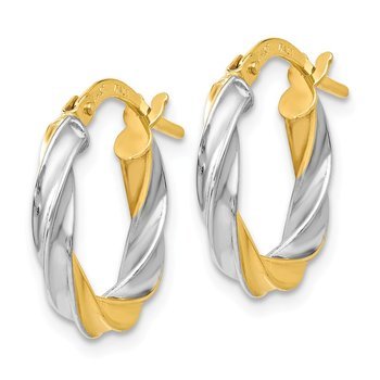 Leslie's 14K w/White Rhodium Plating Polished Hoop Earrings