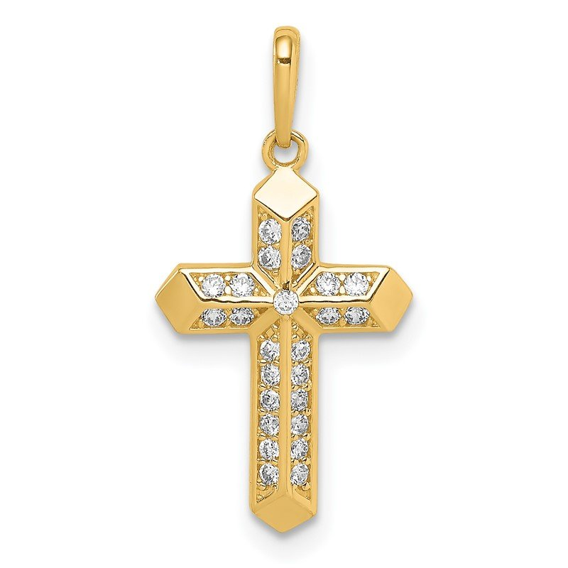 Quality Gold 14K Cross CZ Pendant