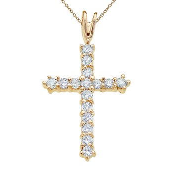 14K Yellow Gold Straight 0.50 Ct Diamond Cross Pendant