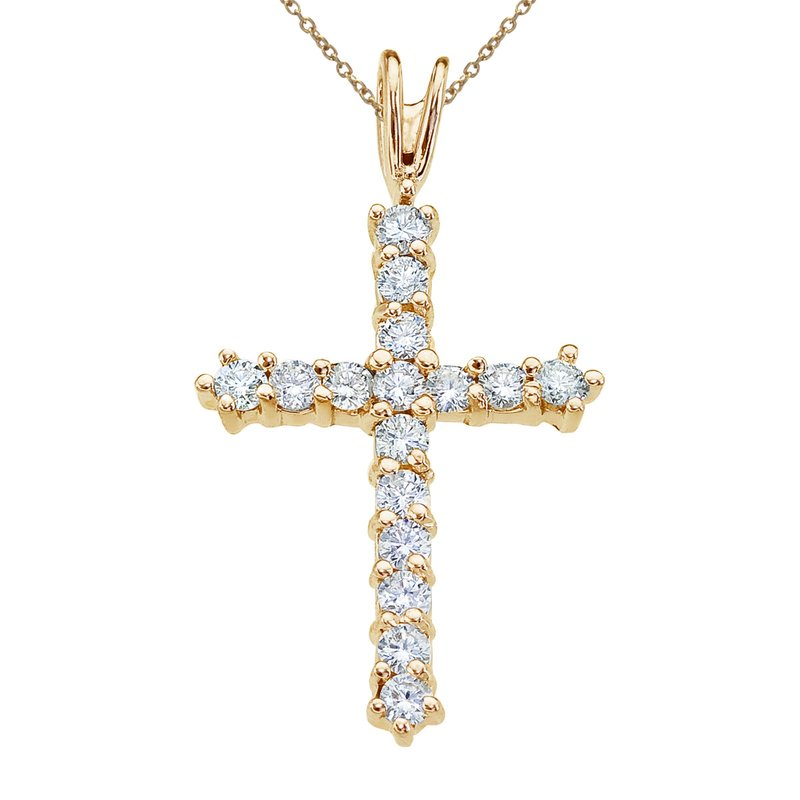 Color Merchants 14K Yellow Gold Straight 0.50 Ct Diamond Cross Pendant