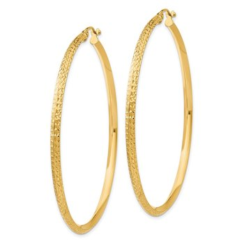 14K Knife Edge Diamond-cut Hollow Hoop Earrings