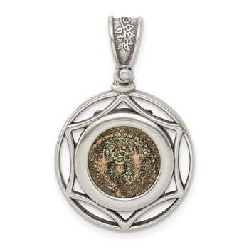 Sterling Silver Ancient Coins Bronze Antiqued Yehohanan Coin Pendant