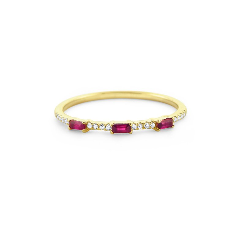 KC Designs Ruby & Diamond Everyday Color Stack Ring Set in 14 Kt. Gold