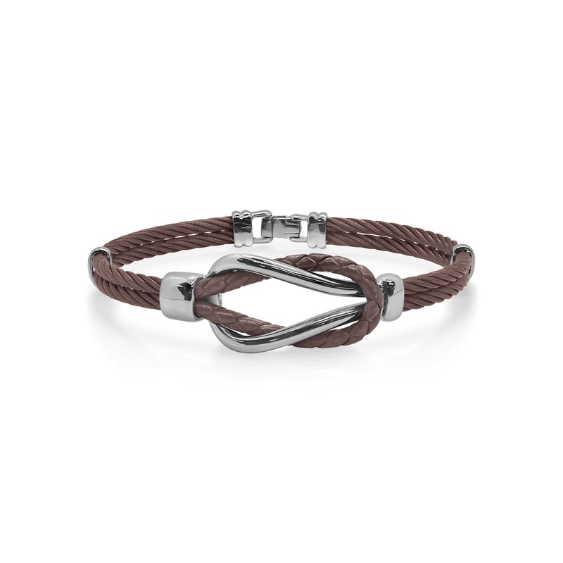 ALOR Bronze Cable & Brown Leather Square Knot Bracelet