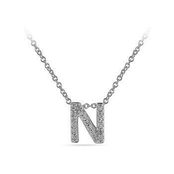 "10K WG and diamond block letters alphabet N ""chain-sliding"" pendant in prong setting"