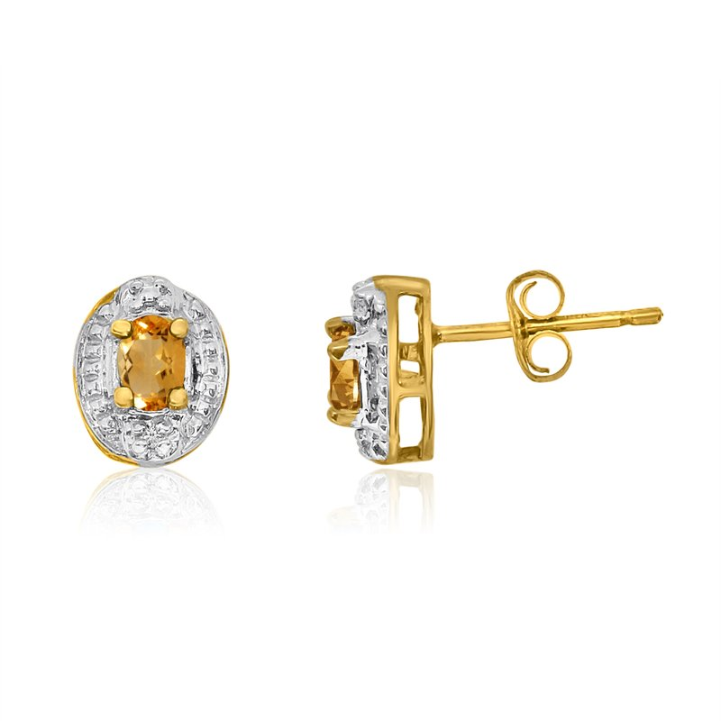 Color Merchants 14k Yellow Gold Citrine Earrings with Diamonds