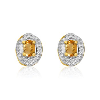 14k Yellow Gold Citrine Earrings with Diamonds