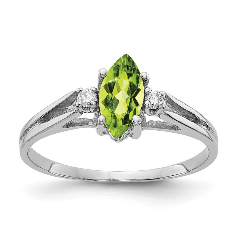 Quality Gold 14k White Gold 8x4mm Marquise Peridot AA Diamond ring