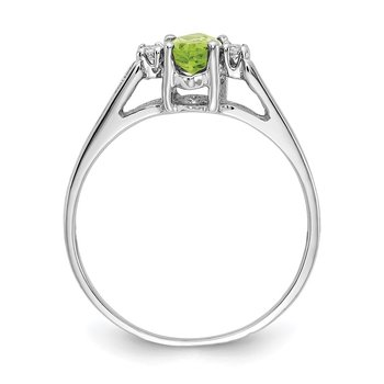 14k White Gold 8x4mm Marquise Peridot AA Diamond ring