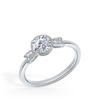 Leaf Milgrain Halo Diamond Engagement Ring