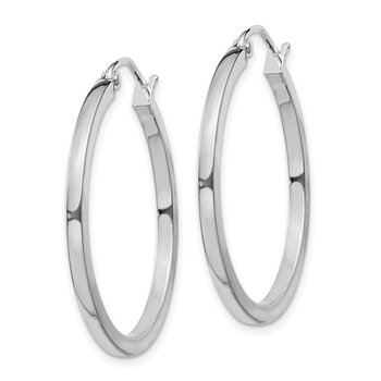 Sterling Silver Rhodium-plated 2x30mm Square Tube Hoop Earrings
