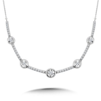 Bezeled & Miracle-Platted Diamond Necklace