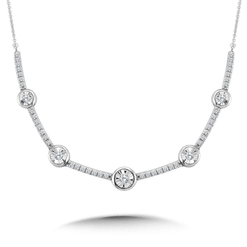 SDC Creations Bezeled & Miracle-Platted Diamond Necklace