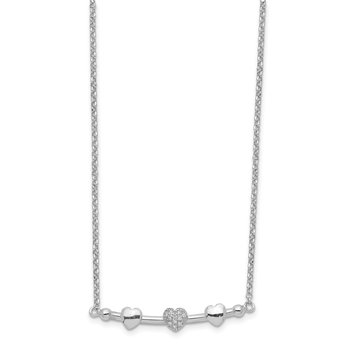 Sterling Silver Rhodium-plated CZ 3-Heart Bar w/1.5in ext. Necklace