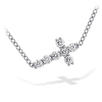 0.2 ctw. Charmed Horizontal Diamond Cross Necklace