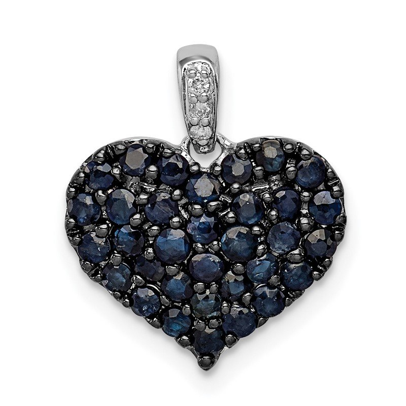 Quality Gold Sterling Silver Rhodium Diam. & Sapphire Heart Pendant