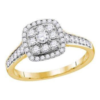 14kt Yellow Gold Womens Round Diamond Round Halo Bridal Wedding Engagement Ring 5/8 Cttw