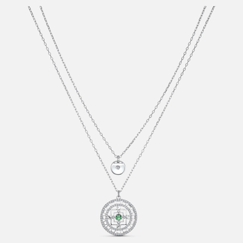 Swarovski Symbolic Mandala Necklace, White, Rhodium plated