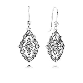 Sparkling Lace Drop Earrings, Clear Cz