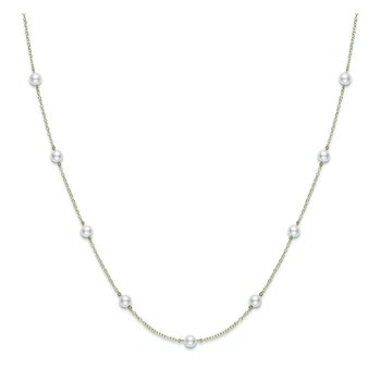 "Akoya Cultured Pearl 18"" Station Necklace - 18 karat Yellow Gold"