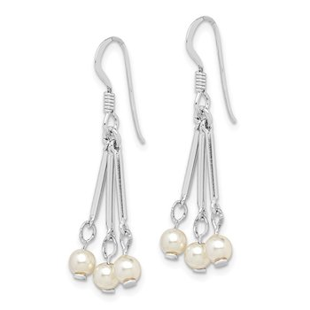 Sterling Silver Rhodium-plated Freshwater Cultured Pearl Dangle Earrings