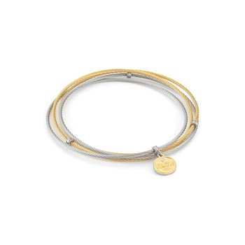Grey & Yellow Cable Affirmation Bangle with Diamond Faith Charm