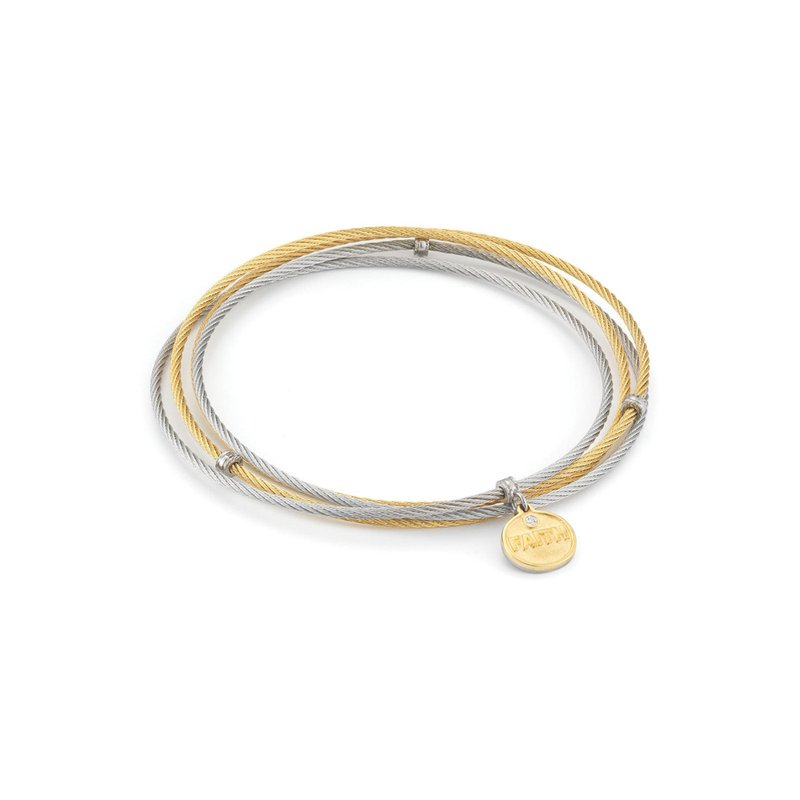 ALOR Grey & Yellow Cable Affirmation Bangle with Diamond Faith Charm
