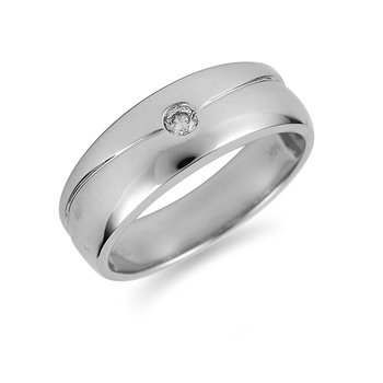 14K WG Diamond Men's Solitaire Ring