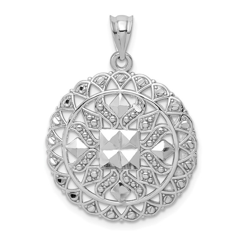 Quality Gold 14k White Gold Diamond Cut Fancy Pendant