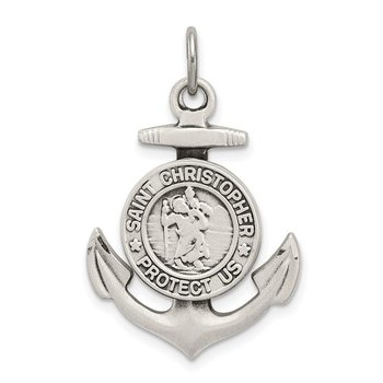 Sterling Silver Antiqued Satin St Christopher Anchor Medal Pendant