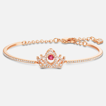 Bee A Queen Bangle, Red, Rose-gold tone plated