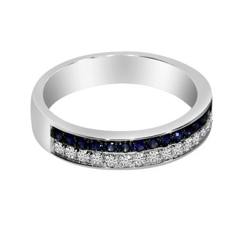 14k White Gold Double Sapphire Channel Band