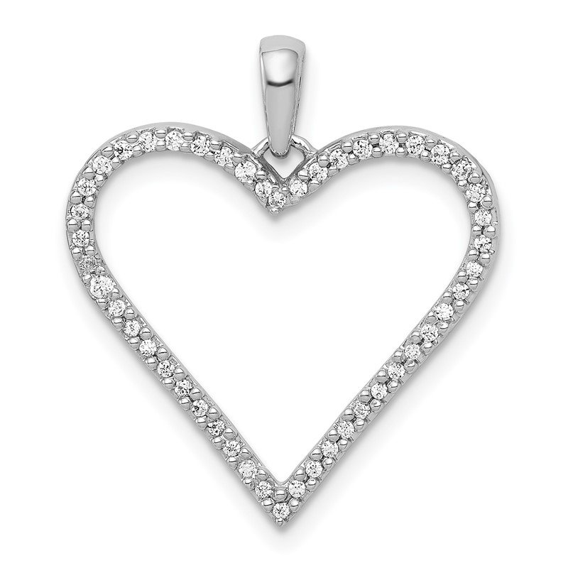 Quality Gold 14k White Gold 1/6ct. Diamond Heart Pendant