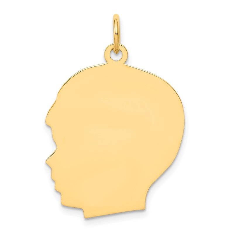 Quality Gold 14k Plain Large .009 Gauge Facing Left Engravable Boy Head Charm