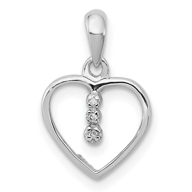 Quality Gold Sterling Silver Diamond Rhodium Heart Pendant