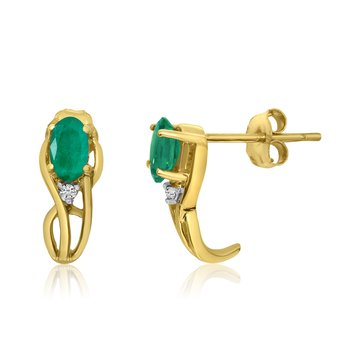 14K Yellow Gold Curved Emerald and Diamond Earrings