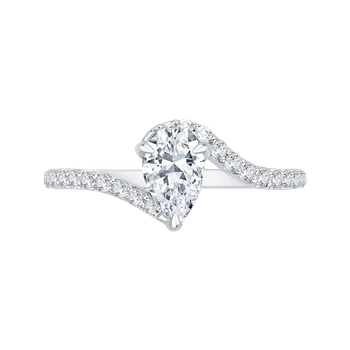 18K White Gold Pear Diamond Promise Engagement Ring (Semi-Mount)